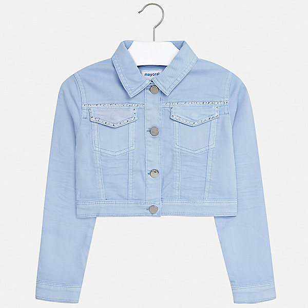 Джинсовая куртка Mayoral для девочкиДжинсовая одежда<br>Характеристики товара:<br><br>• цвет: голубой<br>• состав ткани: 98% хлопок, 2% эластан<br>• утеплитель: нет<br>• сезон: демисезон<br>• особенности куртки: без капюшона<br>• застежка: пуговицы<br>• стразы<br>• страна бренда: Испания<br>• стиль и качество Mayoral<br><br>Голубая куртка для девочки от Майорал - пример качественной и стильной одежды. Детская куртка отличается модным и продуманным дизайном. В куртке для девочки от испанской компании Майорал ребенок может чувствовать себя комфортно весь день. <br><br>Куртку Mayoral (Майорал) для девочки можно купить в нашем интернет-магазине.<br>Ширина мм: 356; Глубина мм: 10; Высота мм: 245; Вес г: 519; Цвет: бежевый; Возраст от месяцев: 96; Возраст до месяцев: 108; Пол: Женский; Возраст: Детский; Размер: 128/134,170,164,158,152,140; SKU: 7551659;