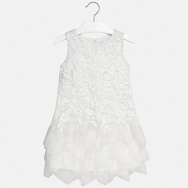 Платье Mayoral для девочкиОдежда<br>Характеристики товара:<br><br>• цвет: белый<br>• состав ткани верха: 100% полиэстер<br>• подкладка: 85% полиэстер, 15% хлопок<br>• сезон: круглый год<br>• особенности модели: нарядная<br>• застежка: пуговица<br>• без рукавов<br>• страна бренда: Испания<br>• стиль и качество Mayoral<br><br>Оригинальное платье для девочки от Майорал разработано европейскими дизайнерами специально для детей. Такое платье для девочки отличается оригинальным кроем. Это детское платье от Mayoral сделано из качественного материала. <br><br>Платье для девочки Mayoral (Майорал) можно купить в нашем интернет-магазине.<br>Ширина мм: 236; Глубина мм: 16; Высота мм: 184; Вес г: 177; Цвет: бежевый; Возраст от месяцев: 96; Возраст до месяцев: 108; Пол: Женский; Возраст: Детский; Размер: 128/134,170,164,158,152,140; SKU: 7552103;