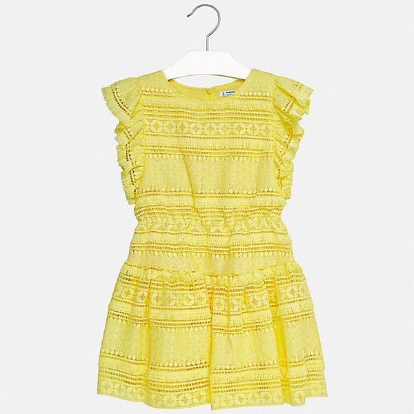 Платье Mayoral для девочкиЛетние платья и сарафаны<br>Характеристики товара:<br><br>• цвет: желтый<br>• состав ткани верха: 100% полиэстер<br>• подкладка: 100% вискоза<br>• сезон: лето<br>• застежка: молния<br>• без рукавов<br>• страна бренда: Испания<br>• стиль и качество Mayoral<br><br>Яркое платье для девочки от Майорал разработано европейскими дизайнерами специально для детей. Такое платье для девочки отличается оригинальным кроем. Это детское платье от Mayoral сделано из качественного материала. <br><br>Платье для девочки Mayoral (Майорал) можно купить в нашем интернет-магазине.<br>Ширина мм: 236; Глубина мм: 16; Высота мм: 184; Вес г: 177; Цвет: желтый; Возраст от месяцев: 96; Возраст до месяцев: 108; Пол: Женский; Возраст: Детский; Размер: 128/134,170,164,158,152,140; SKU: 7552428;