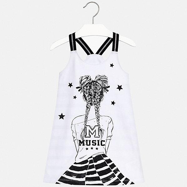 Платье Mayoral для девочкиПлатья и сарафаны<br>Характеристики товара:<br><br>• цвет: белый<br>• состав ткани верха: 95% хлопок, 5% эластан<br>• сезон: лето<br>• без рукавов<br>• стразы<br>• страна бренда: Испания<br>• стиль и качество Mayoral<br><br>Эффектное платье для девочки отличается стильным продуманным дизайном, разработанным специально для детей, которые любят модно одеваться. Это детское платье сделано из качественного приятного на ощупь материала. Благодаря легкой ткани детского платья для девочки создаются комфортные условия для тела. <br><br>Платье для девочки Mayoral (Майорал) можно купить в нашем интернет-магазине.<br>Ширина мм: 236; Глубина мм: 16; Высота мм: 184; Вес г: 177; Цвет: черный; Возраст от месяцев: 156; Возраст до месяцев: 168; Пол: Женский; Возраст: Детский; Размер: 170,158,152,140,128/134,164; SKU: 7552484;