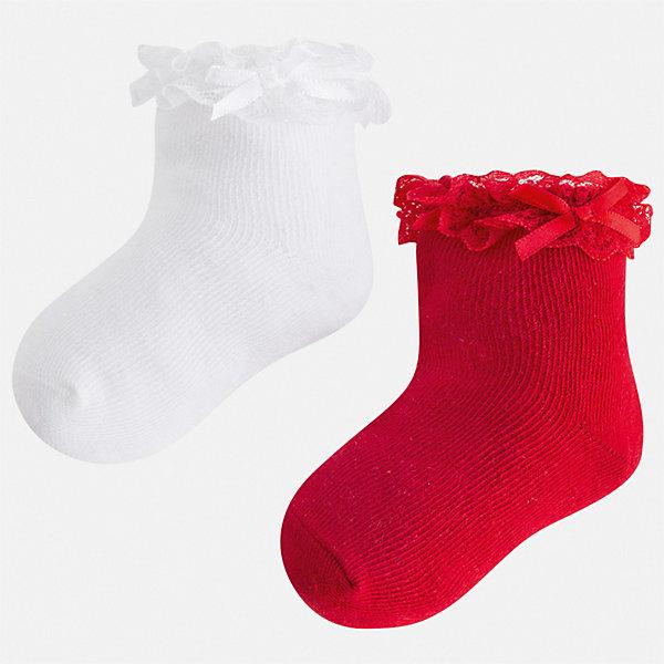 Комплект:2 пары носок Mayoral для девочкиНоски<br>Характеристики товара:<br><br>• цвет: белый<br>• комплектация: 2 пары<br>• состав ткани: 74% хлопок, 23% полиамид, 3% эластан<br>• сезон: круглый год<br>• страна бренда: Испания<br>• стиль и качество Mayoral<br><br>Оригинальные детские носки, как и вся одежда от испанской компании Mayoral, отличаются продуманным дизайном. Эти мягкие детские носки Mayoral обеспечат ребенку комфорт и аккуратный внешний вид. Набор носков для девочки от Майорал симпатично смотрится, они удобно сидят благодаря качественному дышащему трикотажу. <br><br>Комплект: 2 пары носков Mayoral (Майорал) для девочки можно купить в нашем интернет-магазине.<br>Ширина мм: 87; Глубина мм: 10; Высота мм: 105; Вес г: 115; Цвет: красный; Возраст от месяцев: 24; Возраст до месяцев: 36; Пол: Женский; Возраст: Детский; Размер: 24-26,33-35,30-32,27-29; SKU: 7552571;