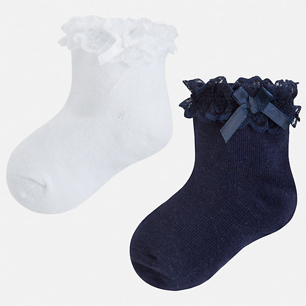 Купить Комплект:2 пары носок Mayoral для девочки, Китай, синий, 24-26, 33-35, 30-32, 27-29, Женский