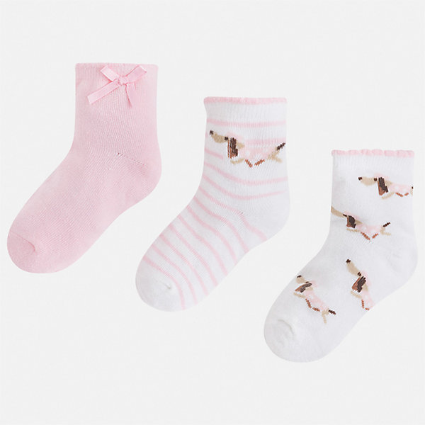 Комплект:3 пары носок Mayoral для девочкиНоски<br>Характеристики товара:<br><br>• цвет: розовый<br>• комплектация: 3 пары<br>• состав ткани: 74% хлопок, 33% полиамид, 3% эластан<br>• сезон: круглый год<br>• страна бренда: Испания<br>• стиль и качество Mayoral<br><br>Симпатичные детские носки смотрятся аккуратно и нарядно. Эти носки для девочки от популярного бренда Mayoral отличаются оригинальным декором. В таких носках для детей от испанской компании Майорал ребенок будет выглядеть модно, а чувствовать себя - комфортно. <br><br>Комплект: 3 пары носков Mayoral (Майорал) для девочки можно купить в нашем интернет-магазине.<br>Ширина мм: 87; Глубина мм: 10; Высота мм: 105; Вес г: 115; Цвет: розовый; Возраст от месяцев: 24; Возраст до месяцев: 36; Пол: Женский; Возраст: Детский; Размер: 30-32,27-29,24-26,33-35; SKU: 7552591;