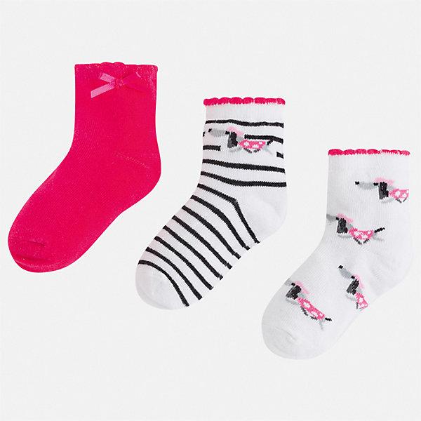 Комплект:3 пары носок Mayoral для девочкиНоски<br>Характеристики товара:<br><br>• цвет: фуксия<br>• комплектация: 3 пары<br>• состав ткани: 74% хлопок, 33% полиамид, 3% эластан<br>• сезон: круглый год<br>• страна бренда: Испания<br>• стиль и качество Mayoral<br><br>Эти носки для детей комфортно сидят благодаря мягкой резинке. Для производства детской одежды, в том числе и носков для детей, популярный бренд Mayoral используют только качественные материалы. Оригинальные и модные вещи от Майорал неизменно привлекают внимание и нравятся детям. Эти детские носки от популярного испанского бренда Mayoral состоят преимущественно из натурального дышащего хлопка. <br><br>Комплект: 3 пары носков Mayoral (Майорал) для девочки можно купить в нашем интернет-магазине.<br>Ширина мм: 87; Глубина мм: 10; Высота мм: 105; Вес г: 115; Цвет: розовый; Возраст от месяцев: 24; Возраст до месяцев: 36; Пол: Женский; Возраст: Детский; Размер: 24-26,33-35,30-32,27-29; SKU: 7552596;