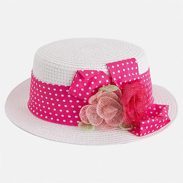 Шляпа Mayoral для девочкиГоловные уборы<br>Характеристики товара:<br><br>• цвет: белый<br>• состав ткани: 100% бумага<br>• сезон: лето<br>• страна бренда: Испания<br>• стиль и качество Mayoral<br><br>Шляпа для девочки от популярного бренда Mayoral отличается оригинальным декором в виде ленты. Детская шляпа имеет поля, обеспечивающие дополнительную защиту от солнца. В такой шляпе для детей от испанской компании Майорал ребенок будет защищен от перегревания головы на солнце. <br><br>Шляпу Mayoral (Майорал) для девочки можно купить в нашем интернет-магазине.<br>Ширина мм: 89; Глубина мм: 117; Высота мм: 44; Вес г: 155; Цвет: розовый; Возраст от месяцев: 24; Возраст до месяцев: 36; Пол: Женский; Возраст: Детский; Размер: 50,54,52; SKU: 7552645;