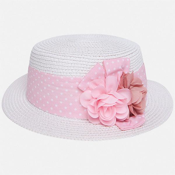 Шляпа Mayoral для девочкиГоловные уборы<br>Характеристики товара:<br><br>• цвет: белый<br>• состав ткани: 100% бумага<br>• сезон: лето<br>• страна бренда: Испания<br>• стиль и качество Mayoral<br><br>Шляпа для детей от испанской компании Mayoral отличается оригинальным и современным дизайном. Легкая шляпа для девочки от Майорал стильно смотрится. Детская шляпа обеспечивает комфорт даже в жаркую погоду благодаря возможности вентиляции. <br><br>Шляпу Mayoral (Майорал) для девочки можно купить в нашем интернет-магазине.<br>Ширина мм: 89; Глубина мм: 117; Высота мм: 44; Вес г: 155; Цвет: розовый; Возраст от месяцев: 24; Возраст до месяцев: 36; Пол: Женский; Возраст: Детский; Размер: 50,54,52; SKU: 7552649;