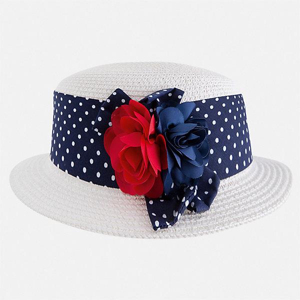 Шляпа Mayoral для девочкиЛетние<br>Характеристики товара:<br><br>• цвет: белый<br>• состав ткани: 100% бумага<br>• сезон: лето<br>• страна бренда: Испания<br>• стиль и качество Mayoral<br><br>Легкая детская шляпа имеет поля, обеспечивающие дополнительную защиту от солнца. Шляпа для девочки от популярного бренда Mayoral отличается оригинальным декором в виде ленты. В такой шляпе для детей от испанской компании Майорал ребенок будет защищен от перегревания головы в жару. <br><br>Шляпу Mayoral (Майорал) для девочки можно купить в нашем интернет-магазине.<br>Ширина мм: 89; Глубина мм: 117; Высота мм: 44; Вес г: 155; Цвет: синий; Возраст от месяцев: 24; Возраст до месяцев: 36; Пол: Женский; Возраст: Детский; Размер: 50,54,52; SKU: 7552653;