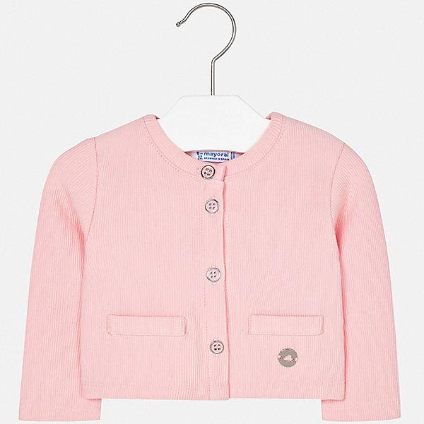 Жакет Mayoral для девочкиТолстовки, свитера, кардиганы<br>Характеристики товара:<br><br>• цвет: розовый<br>• состав ткани: 62% хлопок, 37% полиэстер, 1% эластан<br>• сезон: демисезон<br>• застежка: пуговицы<br>• длинные рукава<br>• страна бренда: Испания<br>• стиль и качество Mayoral<br><br>Розовый детский жакет сделан из дышащего приятного на ощупь материала с преобладанием натурального хлопка в составе. Жакет для девочки отличается стильным продуманным дизайном. Жакет для ребенка - удобная вещь для создания оригинального наряда. <br><br>Жакет Mayoral (Майорал) для девочки можно купить в нашем интернет-магазине.<br>Ширина мм: 190; Глубина мм: 74; Высота мм: 229; Вес г: 236; Цвет: розовый; Возраст от месяцев: 6; Возраст до месяцев: 9; Пол: Женский; Возраст: Детский; Размер: 74,92,86,80; SKU: 7553144;