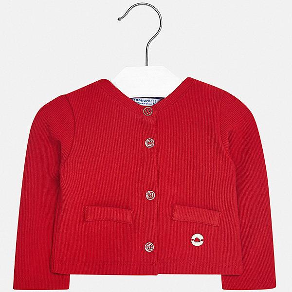 Жакет Mayoral для девочкиТолстовки, свитера, кардиганы<br>Характеристики товара:<br><br>• цвет: красный<br>• состав ткани: 62% хлопок, 37% полиэстер, 1% эластан<br>• сезон: демисезон<br>• застежка: пуговицы<br>• длинные рукава<br>• страна бренда: Испания<br>• стиль и качество Mayoral<br><br>Теплый жакет для ребенка выполнен в ярком цвете, поэтому отлично сочетается со многими вещами. Жакет для девочки отличается прямым силуэтом. Детский жакет сделан из качественного материала, безопасного для детей. <br><br>Жакет Mayoral (Майорал) для девочки можно купить в нашем интернет-магазине.<br>Ширина мм: 190; Глубина мм: 74; Высота мм: 229; Вес г: 236; Цвет: красный; Возраст от месяцев: 6; Возраст до месяцев: 9; Пол: Женский; Возраст: Детский; Размер: 74,92,86,80; SKU: 7553149;