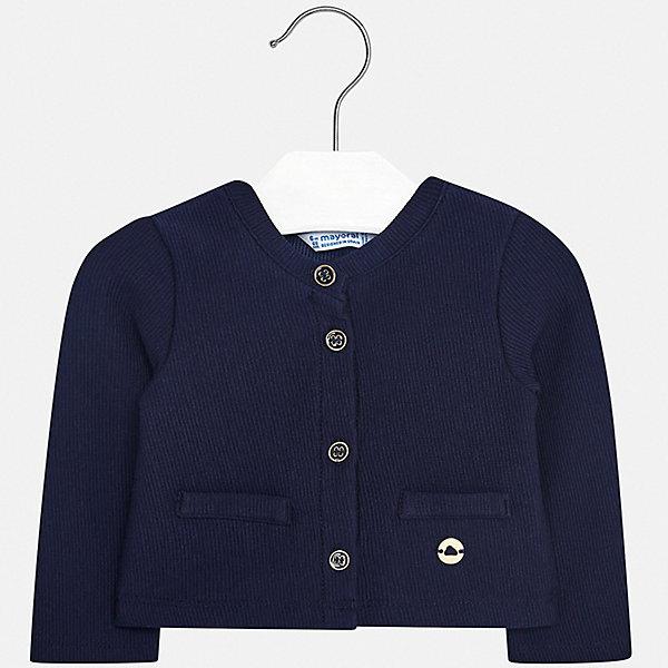 Жакет Mayoral для девочкиТолстовки, свитера, кардиганы<br>Характеристики товара:<br><br>• цвет: синий<br>• состав ткани: 62% хлопок, 37% полиэстер, 1% эластан<br>• сезон: демисезон<br>• застежка: пуговицы<br>• длинные рукава<br>• страна бренда: Испания<br>• стиль и качество Mayoral<br><br>Синий жакет для ребенка поможет обеспечить девочке комфорт. Жакет для девочки отличается высоким качеством пошива. Детский жакет разработан европейскими дизайнерами бренда Mayoral с учетом последних тенденций в молодежной моде. <br><br>Жакет Mayoral (Майорал) для девочки можно купить в нашем интернет-магазине.<br>Ширина мм: 190; Глубина мм: 74; Высота мм: 229; Вес г: 236; Цвет: синий; Возраст от месяцев: 6; Возраст до месяцев: 9; Пол: Женский; Возраст: Детский; Размер: 74,92,86,80; SKU: 7553154;