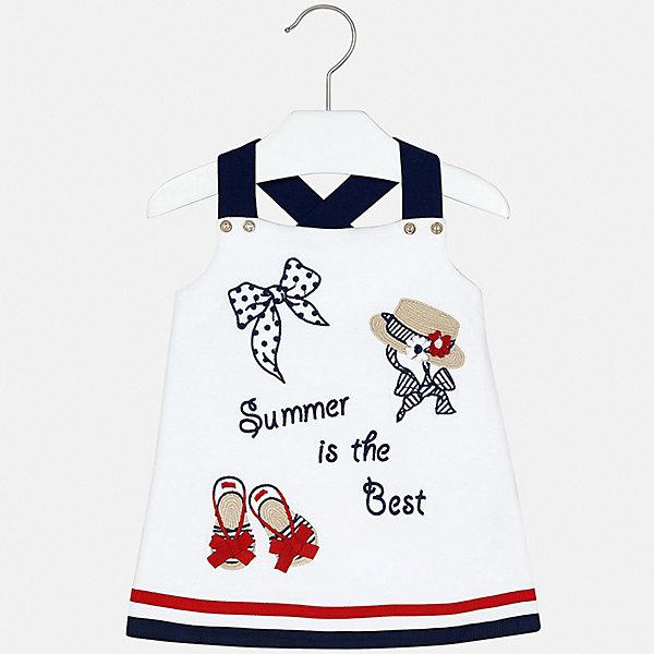 Платье Mayoral для девочкиПлатья<br>Характеристики товара:<br><br>• цвет: белый<br>• состав ткани: 95% хлопок, 5% эластан<br>• сезон: лето<br>• без рукавов<br>• страна бренда: Испания<br>• стиль и качество Mayoral<br><br>Такое детское платье украшено эффектным декором. Платье для девочки сшито из дышащего и легкого качественного материала, поэтому он создает комфортные условия для тела. Платье для ребенка создано европейскими дизайнерами популярного бренда Mayoral с учетом потребностей детей.<br><br>Платье для девочки Mayoral (Майорал) можно купить в нашем интернет-магазине.<br>Ширина мм: 236; Глубина мм: 16; Высота мм: 184; Вес г: 177; Цвет: синий; Возраст от месяцев: 6; Возраст до месяцев: 9; Пол: Женский; Возраст: Детский; Размер: 74,98,92,86,80; SKU: 7553207;