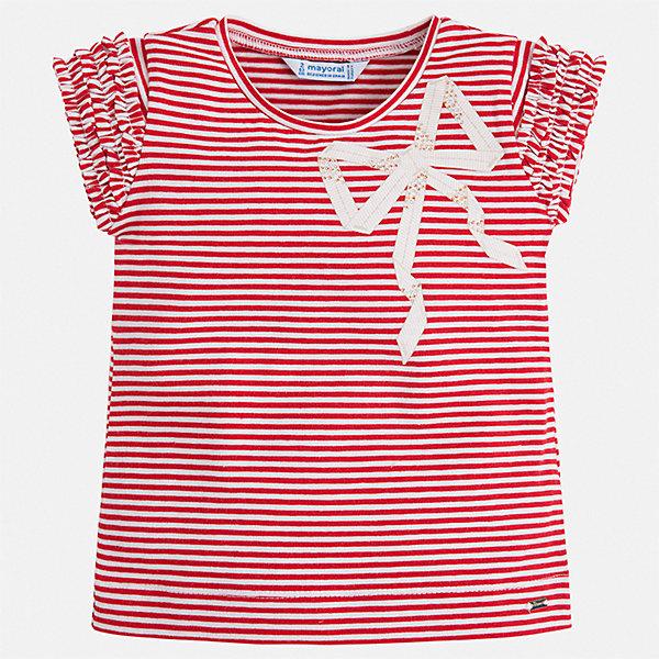 Футболка Mayoral для девочкиФутболки, поло и топы<br>Характеристики товара:<br><br>• цвет: красный<br>• состав ткани: 95% хлопок, 5% эластан<br>• сезон: лето<br>• короткие рукава<br>• стразы<br>• страна бренда: Испания<br>• стиль и качество Mayoral<br><br>Полосатая детская футболка сделана из дышащей гипоаллергенной ткани, которая обеспечивает ребенку комфорт. Детская футболка поможет создать модный и удобный наряд для ребенка. Трикотажная футболка для девочки от Mayoral разнообразит детский гардероб. <br><br>Футболку Mayoral (Майорал) для девочки можно купить в нашем интернет-магазине.<br>Ширина мм: 199; Глубина мм: 10; Высота мм: 161; Вес г: 151; Цвет: красный; Возраст от месяцев: 60; Возраст до месяцев: 72; Пол: Женский; Возраст: Детский; Размер: 116,110,104,98,92,134,128,122; SKU: 7553237;