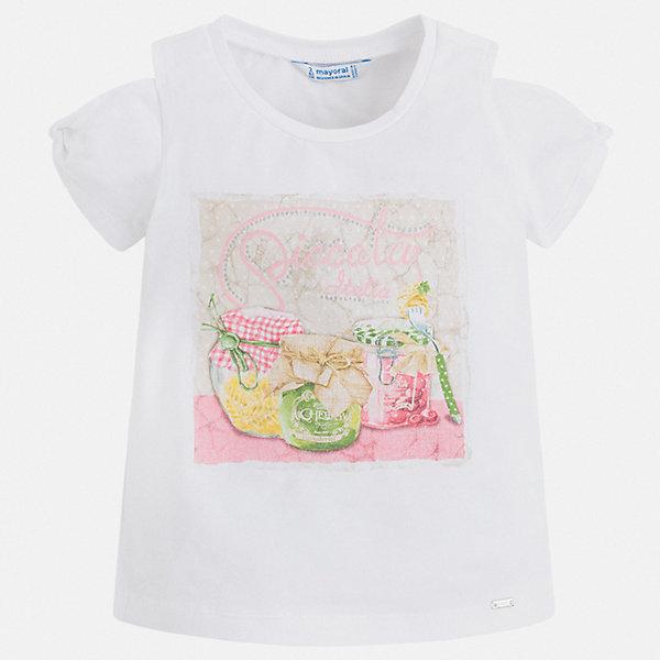 Футболка Mayoral для девочкиФутболки, поло и топы<br>Характеристики товара:<br><br>• цвет: белый<br>• состав ткани: 95% хлопок, 5% эластан<br>• сезон: лето<br>• короткие рукава<br>• стразы<br>• страна бренда: Испания<br>• стиль и качество Mayoral<br><br>Эффектная детская футболка сделана из дышащей гипоаллергенной ткани, которая обеспечивает ребенку комфорт. Детская футболка поможет создать модный и удобный наряд для ребенка. Трикотажная футболка для девочки от Mayoral разнообразит детский гардероб. <br><br>Футболку Mayoral (Майорал) для девочки можно купить в нашем интернет-магазине.<br>Ширина мм: 199; Глубина мм: 10; Высота мм: 161; Вес г: 151; Цвет: белый; Возраст от месяцев: 18; Возраст до месяцев: 24; Пол: Женский; Возраст: Детский; Размер: 92,134,128,122,116,110,104,98; SKU: 7553264;