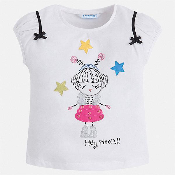 Футболка Mayoral для девочкиФутболки, поло и топы<br>Характеристики товара:<br><br>• цвет: белый<br>• состав ткани: 95% хлопок, 5% эластан<br>• сезон: лето<br>• короткие рукава<br>• страна бренда: Испания<br>• стиль и качество Mayoral<br><br>Принтованная детская футболка может стать отличной основой для составления различных нарядов. В футболке для девочки от испанской компании Майорал ребенок будет чувствовать себя удобно благодаря качественным швам и приятному на ощупь материалу. Эта футболка для девочки от Майорал поможет обеспечить ребенку комфорт.<br><br>Футболку Mayoral (Майорал) для девочки можно купить в нашем интернет-магазине.<br>Ширина мм: 199; Глубина мм: 10; Высота мм: 161; Вес г: 151; Цвет: черный; Возраст от месяцев: 96; Возраст до месяцев: 108; Пол: Женский; Возраст: Детский; Размер: 134,92,98,104,110,116,122,128; SKU: 7553273;