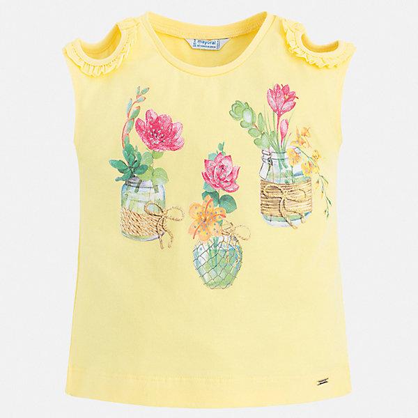 Футболка Mayoral для девочкиФутболки, поло и топы<br>Характеристики товара:<br><br>• цвет: желтый<br>• состав ткани: 95% хлопок, 5% эластан<br>• сезон: лето<br>• короткие рукава<br>• страна бренда: Испания<br>• стиль и качество Mayoral<br><br>Яркая детская футболка с коротким рукавом украшена эффектным декором от ведущих дизайнеров испанского бренда Mayoral. Эта футболка для девочки создана с учетом потребностей детей и последних тенденций в моде. Швы детской футболки тщательно обработаны. <br><br>Футболку Mayoral (Майорал) для девочки можно купить в нашем интернет-магазине.<br>Ширина мм: 199; Глубина мм: 10; Высота мм: 161; Вес г: 151; Цвет: желтый; Возраст от месяцев: 36; Возраст до месяцев: 48; Пол: Женский; Возраст: Детский; Размер: 104,98,92,134,128,122,116,110; SKU: 7553307;