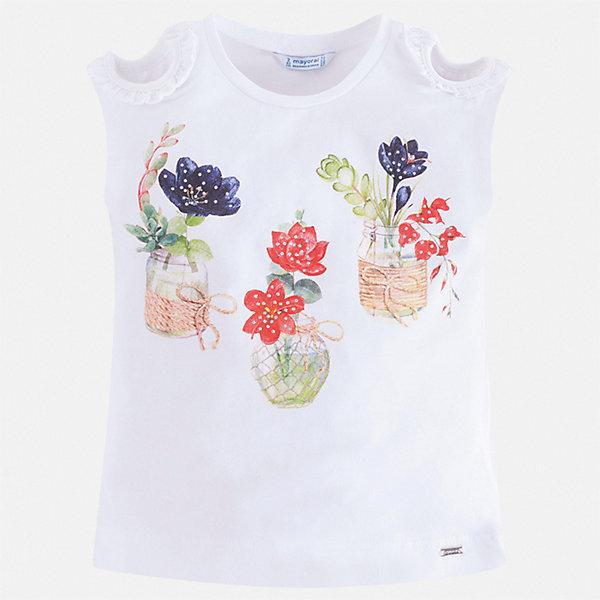 Футболка Mayoral для девочкиФутболки, поло и топы<br>Характеристики товара:<br><br>• цвет: белый<br>• состав ткани: 95% хлопок, 5% эластан<br>• сезон: лето<br>• короткие рукава<br>• страна бренда: Испания<br>• стиль и качество Mayoral<br><br>Легкая детская футболка сделана из дышащей гипоаллергенной ткани, которая обеспечивает ребенку комфорт. Детская футболка поможет создать модный и удобный наряд для ребенка. Трикотажная футболка для девочки от Mayoral разнообразит детский гардероб. <br><br>Футболку Mayoral (Майорал) для девочки можно купить в нашем интернет-магазине.<br>Ширина мм: 199; Глубина мм: 10; Высота мм: 161; Вес г: 151; Цвет: белый; Возраст от месяцев: 18; Возраст до месяцев: 24; Пол: Женский; Возраст: Детский; Размер: 92,134,128,122,116,110,104,98; SKU: 7553316;