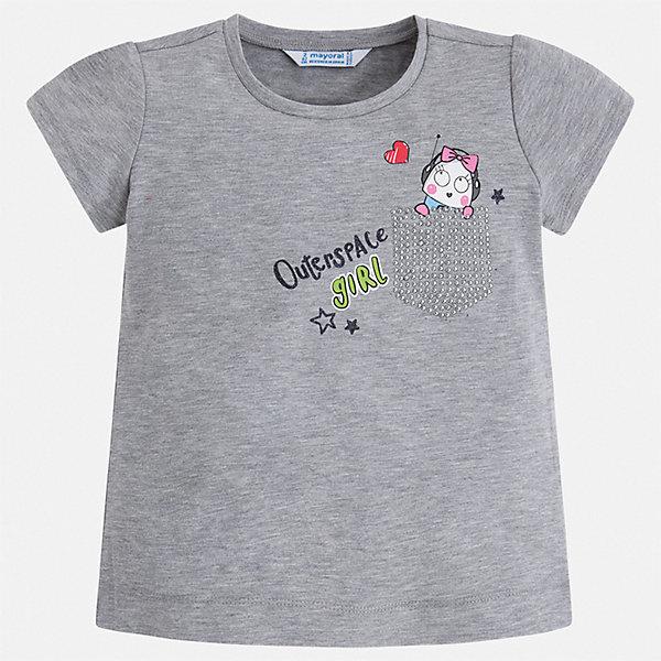 Футболка Mayoral для девочкиФутболки, поло и топы<br>Характеристики товара:<br><br>• цвет: серый<br>• состав ткани: 95% хлопок, 5% эластан<br>• сезон: лето<br>• короткие рукава<br>• стразы<br>• страна бренда: Испания<br>• стиль и качество Mayoral<br><br>В трикотажной футболке для девочки от испанской компании Майорал ребенок будет чувствовать себя удобно благодаря качественным швам и приятному на ощупь материалу. Эта футболка для девочки от Майорал поможет обеспечить ребенку комфорт. Такая детская футболка может стать отличной основой для составления различных нарядов. <br><br>Футболку Mayoral (Майорал) для девочки можно купить в нашем интернет-магазине.<br>Ширина мм: 199; Глубина мм: 10; Высота мм: 161; Вес г: 151; Цвет: серебряный; Возраст от месяцев: 24; Возраст до месяцев: 36; Пол: Женский; Возраст: Детский; Размер: 98,134,128,122,116,110,104; SKU: 7553325;