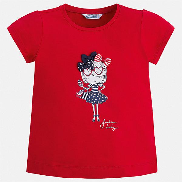 Футболка Mayoral для девочкиФутболки, поло и топы<br>Характеристики товара:<br><br>• цвет: красный<br>• состав ткани: 95% хлопок, 5% эластан<br>• сезон: лето<br>• короткие рукава<br>• стразы<br>• страна бренда: Испания<br>• стиль и качество Mayoral<br><br>Такая детская футболка - высокого качества, её швы тщательно обработаны. Детская футболка с коротким рукавом украшена эффектным декором от ведущих дизайнеров испанского бренда Mayoral. Эта футболка для девочки создана с учетом потребностей детей и последних тенденций в моде. <br><br>Футболку Mayoral (Майорал) для девочки можно купить в нашем интернет-магазине.<br>Ширина мм: 199; Глубина мм: 10; Высота мм: 161; Вес г: 151; Цвет: красный; Возраст от месяцев: 18; Возраст до месяцев: 24; Пол: Женский; Возраст: Детский; Размер: 92,134,128,122,116,110,104,98; SKU: 7553333;