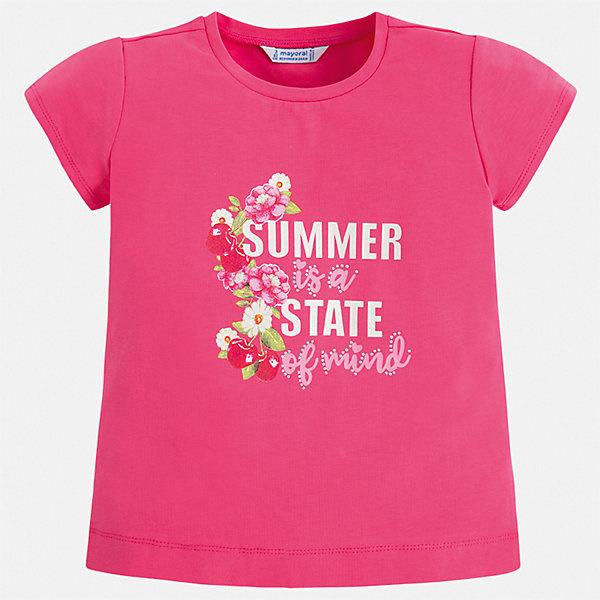 Футболка Mayoral для девочкиФутболки, поло и топы<br>Характеристики товара:<br><br>• цвет: фуксия<br>• состав ткани: 95% хлопок, 5% эластан<br>• сезон: лето<br>• короткие рукава<br>• стразы<br>• страна бренда: Испания<br>• стиль и качество Mayoral<br><br>Яркая футболка для девочки от Mayoral разнообразит детский гардероб. Эта детская футболка сделана из дышащей гипоаллергенной ткани, которая обеспечивает ребенку комфорт. Детская футболка поможет создать модный и удобный наряд для ребенка.<br><br>Футболку Mayoral (Майорал) для девочки можно купить в нашем интернет-магазине.<br>Ширина мм: 199; Глубина мм: 10; Высота мм: 161; Вес г: 151; Цвет: розовый; Возраст от месяцев: 18; Возраст до месяцев: 24; Пол: Женский; Возраст: Детский; Размер: 92,134,128,122,116,110,98,104; SKU: 7553512;