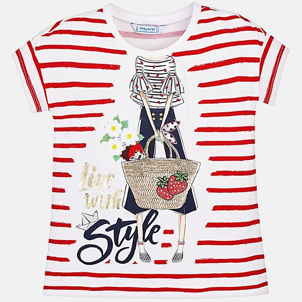 Футболка Mayoral для девочкиФутболки, поло и топы<br>Характеристики товара:<br><br>• цвет: белый<br>• состав ткани: 95% хлопок, 5% эластан<br>• сезон: лето<br>• короткие рукава<br>• страна бренда: Испания<br>• стиль и качество Mayoral<br><br>В белой футболке для девочки от испанской компании Майорал ребенок будет чувствовать себя удобно благодаря качественным швам и приятному на ощупь материалу. Эта футболка для девочки от Майорал поможет обеспечить ребенку комфорт. Такая детская футболка может стать отличной основой для составления различных нарядов. <br><br>Футболку Mayoral (Майорал) для девочки можно купить в нашем интернет-магазине.<br>Ширина мм: 199; Глубина мм: 10; Высота мм: 161; Вес г: 151; Цвет: красный; Возраст от месяцев: 96; Возраст до месяцев: 108; Пол: Женский; Возраст: Детский; Размер: 134,128,122,116,110,104,98,92; SKU: 7553521;