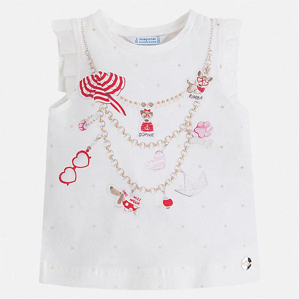 Майка Mayoral для девочкиФутболки, поло и топы<br>Характеристики товара:<br><br>• цвет: белый<br>• состав ткани: 95% хлопок, 5% эластан<br>• сезон: лето<br>• стразы<br>• страна бренда: Испания<br>• стиль и качество Mayoral<br><br>Модная и удобная детская майка разработана специально для детей. Эта майка для девочки украшена эффектным принтом от ведущих дизайнеров испанского бренда Mayoral. Края детской майки обработаны мягкими швами. <br><br>Майку Mayoral (Майорал) для девочки можно купить в нашем интернет-магазине.<br>Ширина мм: 199; Глубина мм: 10; Высота мм: 161; Вес г: 151; Цвет: красный; Возраст от месяцев: 96; Возраст до месяцев: 108; Пол: Женский; Возраст: Детский; Размер: 134,92,98,104,110,116,122,128; SKU: 7553578;