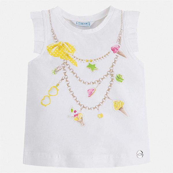 Майка Mayoral для девочкиФутболки, поло и топы<br>Характеристики товара:<br><br>• цвет: белый<br>• состав ткани: 95% хлопок, 5% эластан<br>• сезон: лето<br>• стразы<br>• страна бренда: Испания<br>• стиль и качество Mayoral<br><br>Стильная детская майка сшита из материала, который содержит хлопок, поэтому она дышащая и комфортная. Детская майка поможет создать модный и удобный наряд для ребенка. Эта майка для девочки от Mayoral - универсальная и комфортная базовая вещь для детского гардероба. <br><br>Майку Mayoral (Майорал) для девочки можно купить в нашем интернет-магазине.<br>Ширина мм: 199; Глубина мм: 10; Высота мм: 161; Вес г: 151; Цвет: желтый; Возраст от месяцев: 96; Возраст до месяцев: 108; Пол: Женский; Возраст: Детский; Размер: 134,92,98,104,110,116,122,128; SKU: 7553587;