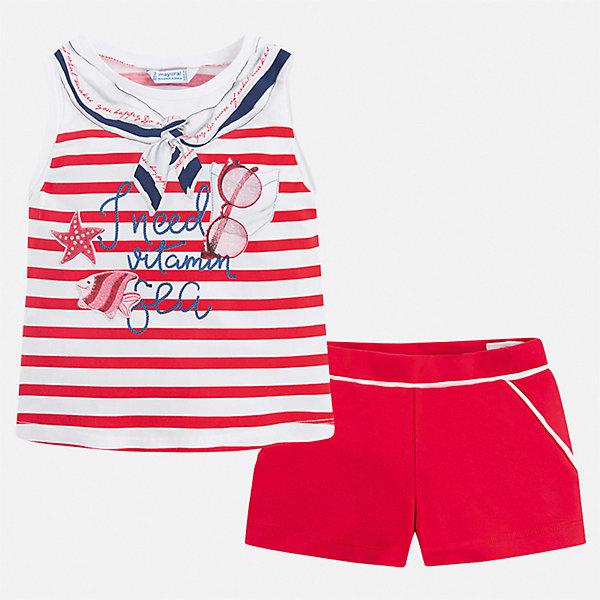 Купить Комплект:шорты, футболка Mayoral для девочки, Китай, красный, 134, 92, 128, 122, 116, 110, 104, 98, Женский