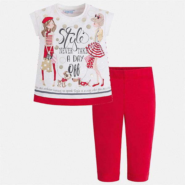 Купить Комплект:бриджи, футболка Mayoral для девочки, Турция, красный, 92, 134, 128, 122, 116, 110, 104, 98, Женский