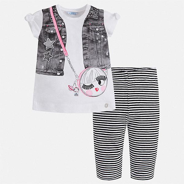 Комплект:брюки,пуловер Mayoral для девочкиКомплекты<br>Характеристики товара:<br><br>• цвет: белый, серый<br>• комплектация: леггинсы, футболка<br>• состав ткани: 95% хлопок, 5% эластан<br>• сезон: лето<br>• короткие рукава<br>• стразы<br>• пояс: резинка<br>• страна бренда: Испания<br>• стиль и качество Mayoral<br><br>Оригинальный комплект - футболка с принтом и леггинсы для девочки от Майорал - отлично сочетается между собой, а также с другими вещами. В этом детском наборе - сразу две модные вещи. В футболке и леггинсах для девочки от испанской компании Майорал ребенок будет выглядеть стильно и оригинально.<br><br>Комплект: леггинсы, футболка Mayoral (Майорал) для девочки можно купить в нашем интернет-магазине.<br>Ширина мм: 215; Глубина мм: 88; Высота мм: 191; Вес г: 336; Цвет: черный; Возраст от месяцев: 18; Возраст до месяцев: 24; Пол: Женский; Возраст: Детский; Размер: 92,134,128,122,116,110,104,98; SKU: 7553758;
