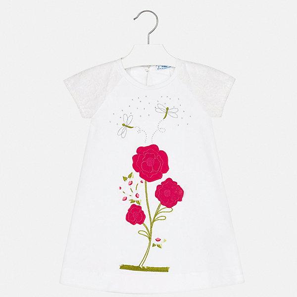 Платье Mayoral для девочкиПлатья и сарафаны<br>Характеристики товара:<br><br>• цвет: белый<br>• состав ткани: 95% хлопок, 5% эластан<br>• сезон: лето<br>• застежка: пуговица<br>• короткие рукава<br>• стразы<br>• страна бренда: Испания<br>• стиль и качество Mayoral<br><br>Легкое платье для девочки от испанской компании Майорал - пример стильной и качественной одежды. Это платье для девочки от Майорал поможет обеспечить ребенку удобство. Детское платье отличается качественными фурнитурой и материалом. <br><br>Платье для девочки Mayoral (Майорал) можно купить в нашем интернет-магазине.<br>Ширина мм: 236; Глубина мм: 16; Высота мм: 184; Вес г: 177; Цвет: розовый; Возраст от месяцев: 18; Возраст до месяцев: 24; Пол: Женский; Возраст: Детский; Размер: 92,134,128,122,116,110,104,98; SKU: 7553978;