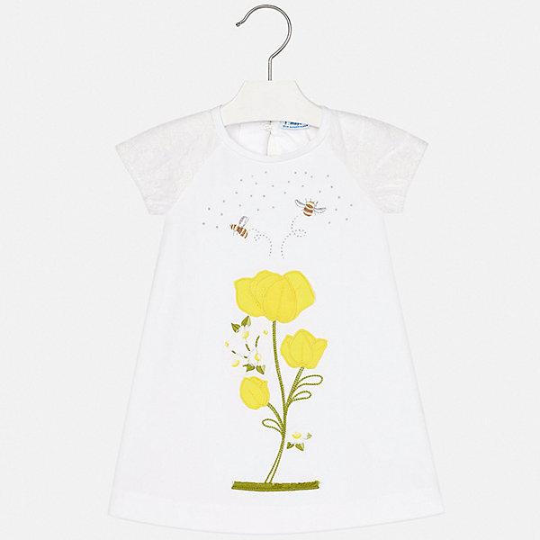 Платье Mayoral для девочкиЛетние платья и сарафаны<br>Характеристики товара:<br><br>• цвет: белый<br>• состав ткани: 95% хлопок, 5% эластан<br>• сезон: лето<br>• застежка: пуговица<br>• короткие рукава<br>• стразы<br>• страна бренда: Испания<br>• стиль и качество Mayoral<br><br>Удобное платье для девочки отличается стильным продуманным дизайном, разработанным специально для детей, которые любят модно одеваться. Это детское платье сделано из качественного приятного на ощупь материала. Благодаря легкой ткани детского платья для девочки создаются комфортные условия для тела. <br><br>Платье для девочки Mayoral (Майорал) можно купить в нашем интернет-магазине.<br>Ширина мм: 236; Глубина мм: 16; Высота мм: 184; Вес г: 177; Цвет: желтый; Возраст от месяцев: 18; Возраст до месяцев: 24; Пол: Женский; Возраст: Детский; Размер: 92,134,128,122,116,110,104,98; SKU: 7553987;