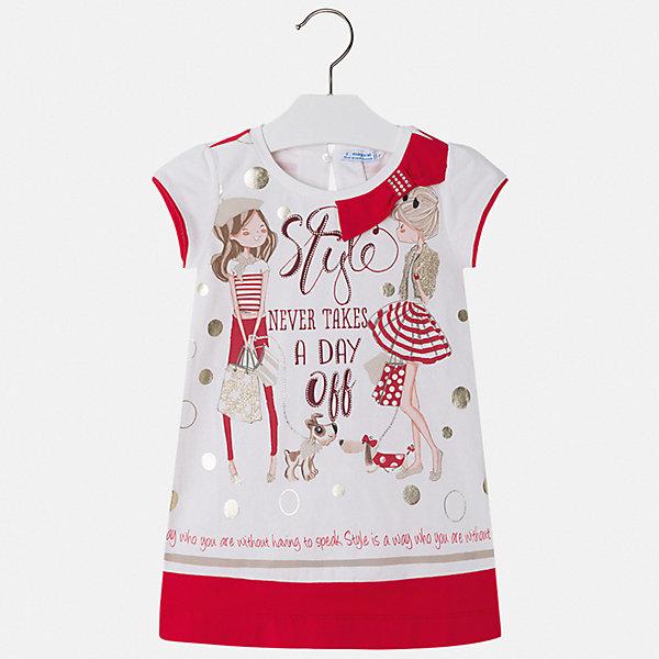Платье Mayoral для девочкиПлатья и сарафаны<br>Характеристики товара:<br><br>• цвет: белый<br>• состав ткани: 95% хлопок, 5% эластан<br>• сезон: лето<br>• застежка: пуговица<br>• короткие рукава<br>• страна бренда: Испания<br>• стиль и качество Mayoral<br><br>Комфортное платье для девочки от Майорал разработано европейскими дизайнерами специально для детей. Такое платье для девочки отличается оригинальным кроем. Это детское платье от Mayoral сделано из качественного материала. <br><br>Платье для девочки Mayoral (Майорал) можно купить в нашем интернет-магазине.<br>Ширина мм: 236; Глубина мм: 16; Высота мм: 184; Вес г: 177; Цвет: красный; Возраст от месяцев: 72; Возраст до месяцев: 84; Пол: Женский; Возраст: Детский; Размер: 122,134,128,116,110,104,98,92; SKU: 7554023;