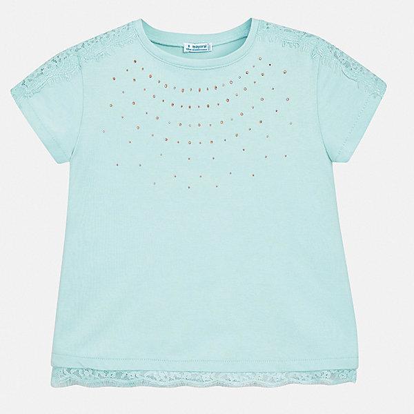 Футболка Mayoral для девочкиФутболки, поло и топы<br>Характеристики товара:<br><br>• цвет: голубой<br>• состав ткани: 95% хлопок, 5% эластан<br>• сезон: лето<br>• короткие рукава<br>• стразы<br>• страна бренда: Испания<br>• стиль и качество Mayoral<br><br>Такая детская футболка может стать отличной основой для составления различных нарядов. В футболке для девочки от испанской компании Майорал ребенок будет чувствовать себя удобно благодаря качественным швам и приятному на ощупь материалу. Эта футболка для девочки от Майорал поможет обеспечить ребенку комфорт.<br><br>Футболку Mayoral (Майорал) для девочки можно купить в нашем интернет-магазине.<br>Ширина мм: 199; Глубина мм: 10; Высота мм: 161; Вес г: 151; Цвет: голубой; Возраст от месяцев: 132; Возраст до месяцев: 144; Пол: Женский; Возраст: Детский; Размер: 152,140,128/134,170,164,158; SKU: 7554163;