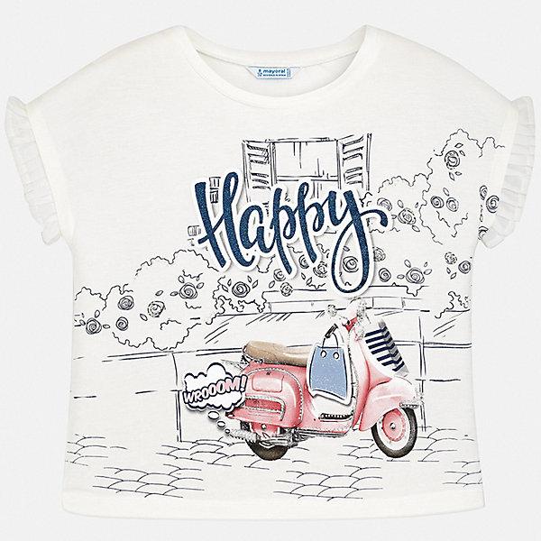 Футболка Mayoral для девочкиФутболки, поло и топы<br>Характеристики товара:<br><br>• цвет: белый<br>• состав ткани: 95% хлопок, 5% эластан<br>• сезон: лето<br>• короткие рукава<br>• страна бренда: Испания<br>• стиль и качество Mayoral<br><br>Эффектная футболка для девочки от Mayoral разнообразит детский гардероб. Такая детская футболка сделана из дышащей гипоаллергенной ткани, которая обеспечивает ребенку комфорт. Детская футболка поможет создать модный и удобный наряд для ребенка.<br><br>Футболку Mayoral (Майорал) для девочки можно купить в нашем интернет-магазине.<br>Ширина мм: 199; Глубина мм: 10; Высота мм: 161; Вес г: 151; Цвет: разноцветный; Возраст от месяцев: 96; Возраст до месяцев: 108; Пол: Женский; Возраст: Детский; Размер: 128/134,164,158,152,140; SKU: 7554198;