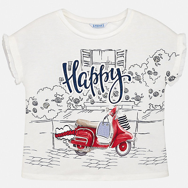 Футболка Mayoral для девочкиФутболки, поло и топы<br>Характеристики товара:<br><br>• цвет: белый<br>• состав ткани: 95% хлопок, 5% эластан<br>• сезон: лето<br>• короткие рукава<br>• страна бренда: Испания<br>• стиль и качество Mayoral<br><br>Хлопковая футболка для девочки от Майорал поможет обеспечить ребенку комфорт. Эта детская футболка может стать отличной основой для составления различных нарядов. В футболке для девочки от испанской компании Майорал ребенок будет чувствовать себя удобно благодаря качественным швам и приятному на ощупь материалу. <br><br>Футболку Mayoral (Майорал) для девочки можно купить в нашем интернет-магазине.<br>Ширина мм: 199; Глубина мм: 10; Высота мм: 161; Вес г: 151; Цвет: красный; Возраст от месяцев: 96; Возраст до месяцев: 108; Пол: Женский; Возраст: Детский; Размер: 128/134,164,140,158,152; SKU: 7554204;