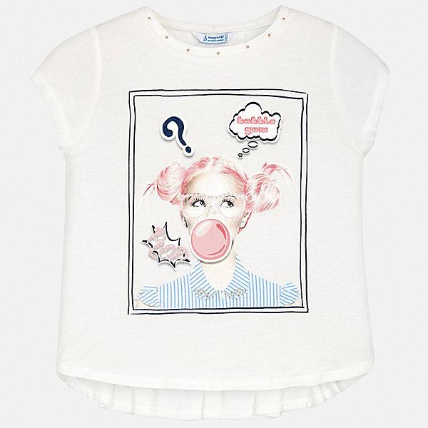 Футболка Mayoral для девочкиФутболки, поло и топы<br>Характеристики товара:<br><br>• цвет: белый<br>• состав ткани: 95% хлопок, 5% эластан<br>• сезон: лето<br>• короткие рукава<br>• стразы<br>• страна бренда: Испания<br>• стиль и качество Mayoral<br><br>Модная детская футболка с коротким рукавом украшена эффектным декором от ведущих дизайнеров испанского бренда Mayoral. Эта футболка для девочки создана с учетом потребностей детей и последних тенденций в моде. Швы детской футболки тщательно обработаны. <br><br>Футболку Mayoral (Майорал) для девочки можно купить в нашем интернет-магазине.<br>Ширина мм: 199; Глубина мм: 10; Высота мм: 161; Вес г: 151; Цвет: синий; Возраст от месяцев: 96; Возраст до месяцев: 108; Пол: Женский; Возраст: Детский; Размер: 128/134,170,164,158,152,140; SKU: 7554210;