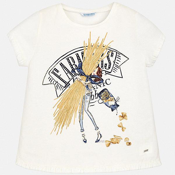 Футболка Mayoral для девочкиФутболки, поло и топы<br>Характеристики товара:<br><br>• цвет: белый<br>• состав ткани: 95% хлопок, 5% эластан<br>• сезон: лето<br>• короткие рукава<br>• страна бренда: Испания<br>• стиль и качество Mayoral<br><br>Такая футболка для девочки от Майорал поможет обеспечить ребенку комфорт. Эта детская футболка может стать отличной основой для составления различных нарядов. В футболке для девочки от испанской компании Майорал ребенок будет чувствовать себя удобно благодаря качественным швам и приятному на ощупь материалу. <br><br>Футболку Mayoral (Майорал) для девочки можно купить в нашем интернет-магазине.<br>Ширина мм: 199; Глубина мм: 10; Высота мм: 161; Вес г: 151; Цвет: синий; Возраст от месяцев: 156; Возраст до месяцев: 168; Пол: Женский; Возраст: Детский; Размер: 164,170,158,152,140,128/134; SKU: 7554224;