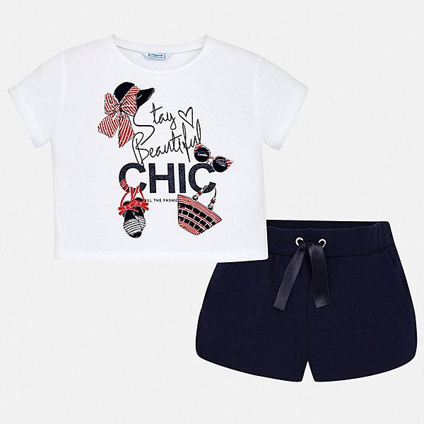Купить Комплект:шорты, футболка Mayoral для девочки, Турция, синий, 128/134, 170, 164, 158, 152, 140, Женский