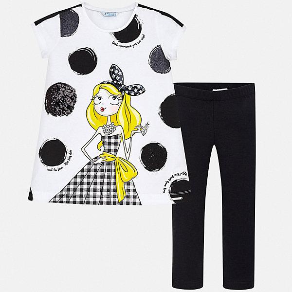 Купить Комплект:леггинсы, блузка Mayoral для девочки, Турция, черный, 128/134, 158, 152, 140, Женский