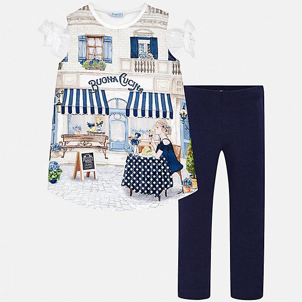 Комплект:леггинсы,блузка Mayoral для девочкиКомплекты<br>Характеристики товара:<br><br>• цвет: синий<br>• комплектация: леггинсы, футболка<br>• состав ткани футболки: 80% полиэстер, 10% хлопок, 10% модал<br>• состав ткани: 95% хлопок, 5% эластан<br>• сезон: лето<br>• пояс: резинка<br>• короткие рукава<br>• страна бренда: Испания<br>• стиль и качество Mayoral<br><br>Стильный комплект - блузка и леггинсы для футболка от Майорал - отлично сочетается между собой, а также с другими вещами. В этом детском наборе - сразу две модные вещи. В футболке и леггинсах для девочки от испанской компании Майорал ребенок будет выглядеть стильно и оригинально.<br><br>Комплект: футболка, леггинсы Mayoral (Майорал) для девочки можно купить в нашем интернет-магазине.<br>Ширина мм: 123; Глубина мм: 10; Высота мм: 149; Вес г: 209; Цвет: синий; Возраст от месяцев: 144; Возраст до месяцев: 156; Пол: Женский; Возраст: Детский; Размер: 158,164,170,152,140,128/134; SKU: 7554324;