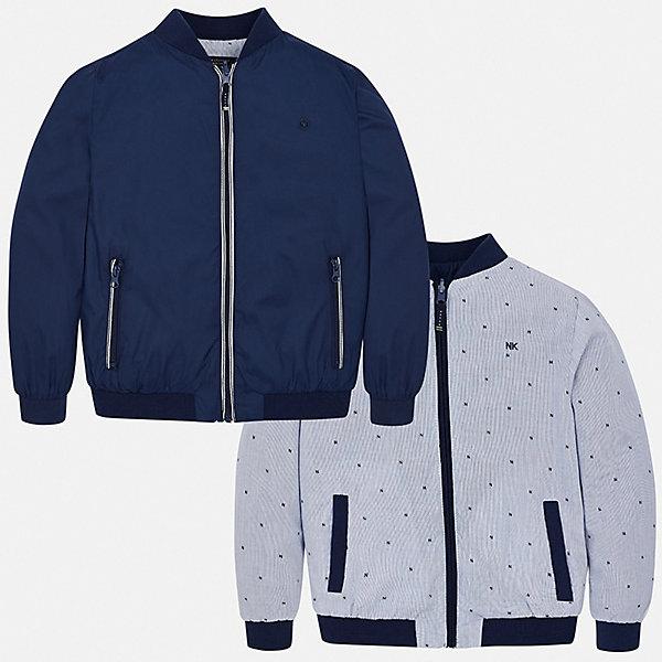 Куртка двусторонняя Mayoral для мальчикаВерхняя одежда<br>Характеристики товара:<br><br>• цвет: синий<br>• состав ткани: 100% полиэстер<br>• подкладка: 100% хлопок<br>• утеплитель: нет<br>• сезон: демисезон<br>• температурный режим: от +5 до +20<br>• особенности куртки: без капюшона, двусторонняя<br>• застежка: молния<br>• страна бренда: Испания<br>• неповторимый стиль Mayoral<br><br>Практичная куртка для мальчика от Майорал - это сразу две модели в одной. Детская куртка отличается модным и продуманным дизайном. В куртке для мальчика от испанской компании Майорал ребенок будет выглядеть модно, а чувствовать себя - комфортно. <br><br>Куртку двустороннюю Mayoral (Майорал) для мальчика можно купить в нашем интернет-магазине.<br>Ширина мм: 356; Глубина мм: 10; Высота мм: 245; Вес г: 519; Цвет: синий; Возраст от месяцев: 96; Возраст до месяцев: 108; Пол: Мужской; Возраст: Детский; Размер: 128/134,170,164,158,152,140; SKU: 7556504;