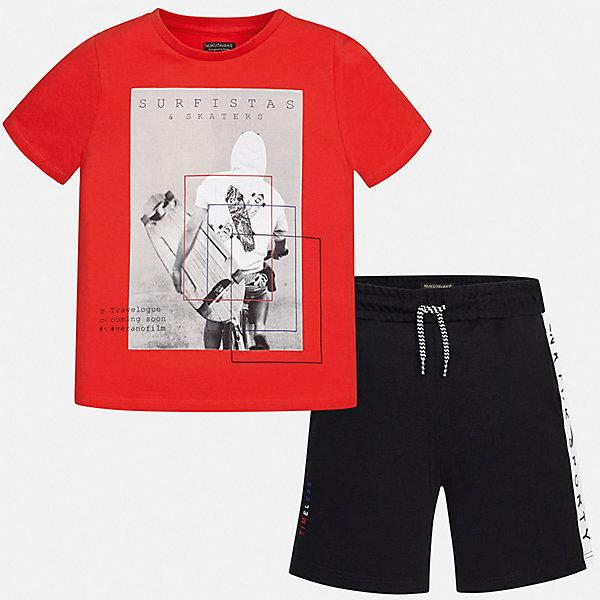Комплект:Футболка,шорты Mayoral для мальчикаКомплекты<br>Характеристики товара:<br><br>• цвет: красный<br>• комплектация: шорты, футболка<br>• состав ткани: 100% хлопок<br>• сезон: лето<br>• особенности модели: спортивный стиль<br>• пояс: резинка, шнурок<br>• короткие рукава<br>• страна бренда: Испания<br>• неповторимый стиль Mayoral<br><br>Трикотажные футболка и шорты для мальчика от Майорал - отличный комплект для жаркого времени года. В этом детском комплекте - сразу две качественные и модные вещи. В футболке и шортах для мальчика от испанской компании Майорал ребенок будет чувствовать себя удобно благодаря высокому качеству материала и швов. <br><br>Комплект: шорты, футболка Mayoral (Майорал) для мальчика можно купить в нашем интернет-магазине.<br>Ширина мм: 230; Глубина мм: 40; Высота мм: 220; Вес г: 250; Цвет: красный; Возраст от месяцев: 96; Возраст до месяцев: 108; Пол: Мужской; Возраст: Детский; Размер: 128/134,170,164,158,152,140; SKU: 7556644;