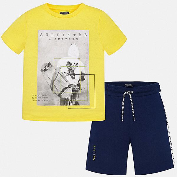 Комплект:Футболка,шорты Mayoral для мальчикаКомплекты<br>Характеристики товара:<br><br>• цвет: желтый<br>• комплектация: шорты, футболка<br>• состав ткани: 100% хлопок<br>• сезон: лето<br>• особенности модели: спортивный стиль<br>• пояс: резинка, шнурок<br>• короткие рукава<br>• страна бренда: Испания<br>• неповторимый стиль Mayoral<br><br>Эти футболка и шорты для мальчика от Майорал помогут обеспечить ребенку комфорт в жаркое время года. В таком детском комплекте - сразу две стильные вещи. В футболке и шортах для мальчика от испанской компании Майорал ребенок будет выглядеть модно, а чувствовать себя - удобно.<br><br>Комплект: шорты, футболка Mayoral (Майорал) для мальчика можно купить в нашем интернет-магазине.<br>Ширина мм: 230; Глубина мм: 40; Высота мм: 220; Вес г: 250; Цвет: желтый; Возраст от месяцев: 168; Возраст до месяцев: 180; Пол: Мужской; Возраст: Детский; Размер: 170,164,158,152,140,128/134; SKU: 7556651;