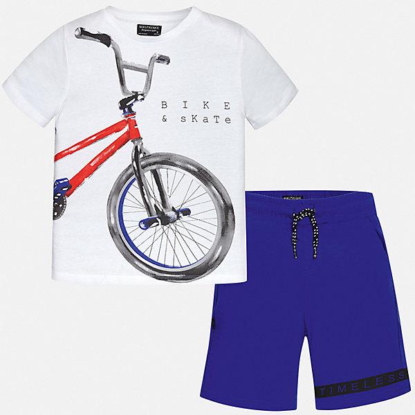 Комплект:Футболка,шорты Mayoral для мальчикаКомплекты<br>Характеристики товара:<br><br>• цвет: белый<br>• комплектация: шорты, футболка<br>• состав ткани: 100% хлопок<br>• сезон: лето<br>• особенности модели: спортивный стиль<br>• пояс: резинка, шнурок<br>• короткие рукава<br>• страна бренда: Испания<br>• неповторимый стиль Mayoral<br><br>Футболка и шорты для мальчика от Майорал - отличный комплект для жаркого времени года. В этом детском комплекте - сразу две качественные и модные вещи. В футболке и шортах для мальчика от испанской компании Майорал ребенок будет чувствовать себя удобно благодаря высокому качеству материала и швов. <br><br>Комплект: шорты, футболка Mayoral (Майорал) для мальчика можно купить в нашем интернет-магазине.<br>Ширина мм: 230; Глубина мм: 40; Высота мм: 220; Вес г: 250; Цвет: синий; Возраст от месяцев: 96; Возраст до месяцев: 108; Пол: Мужской; Возраст: Детский; Размер: 128/134,170,164,158,152,140; SKU: 7556665;