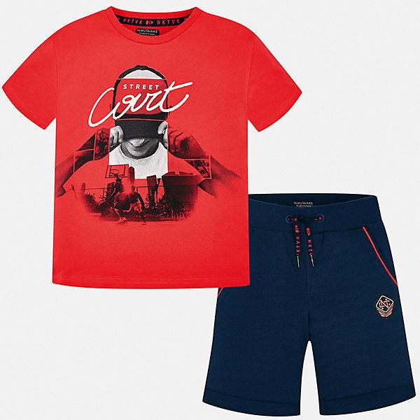Комплект:Футболка с длинным рукавом,брюки Mayoral для мальчикаКомплекты<br>Характеристики товара:<br><br>• цвет: красный<br>• комплектация: шорты, футболка<br>• состав ткани: 100% хлопок<br>• сезон: лето<br>• особенности модели: спортивный стиль<br>• пояс: резинка, шнурок<br>• короткие рукава<br>• страна бренда: Испания<br>• неповторимый стиль Mayoral<br><br>В детском хлопковом комплекте от Mayoral - сразу две стильные вещи. Эти футболка и шорты для мальчика от Майорал помогут обеспечить ребенку комфорт в жаркое время года. В футболке и шортах для мальчика от испанской компании Майорал ребенок будет выглядеть модно, а чувствовать себя - удобно.<br><br>Комплект: шорты, футболка Mayoral (Майорал) для мальчика можно купить в нашем интернет-магазине.<br>Ширина мм: 230; Глубина мм: 40; Высота мм: 220; Вес г: 250; Цвет: бордовый; Возраст от месяцев: 144; Возраст до месяцев: 156; Пол: Мужской; Возраст: Детский; Размер: 170,164,140,128/134,158,152; SKU: 7556693;