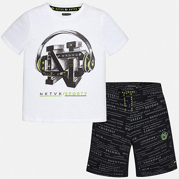 Комплект:Футболка,шорты Mayoral для мальчикаКомплекты<br>Характеристики товара:<br><br>• цвет: белый<br>• комплектация: шорты, футболка<br>• состав ткани: 100% хлопок<br>• сезон: лето<br>• особенности модели: спортивный стиль<br>• пояс: резинка, шнурок<br>• короткие рукава<br>• страна бренда: Испания<br>• неповторимый стиль Mayoral<br><br>Стильная футболка и шорты для мальчика от Майорал - отличный комплект для жаркого времени года. В этом детском комплекте - сразу две качественные и модные вещи. В футболке и шортах для мальчика от испанской компании Майорал ребенок будет чувствовать себя удобно благодаря высокому качеству материала и швов. <br><br>Комплект: шорты, футболка Mayoral (Майорал) для мальчика можно купить в нашем интернет-магазине.<br>Ширина мм: 230; Глубина мм: 40; Высота мм: 220; Вес г: 250; Цвет: черный; Возраст от месяцев: 168; Возраст до месяцев: 180; Пол: Мужской; Возраст: Детский; Размер: 170,128/134,140,152,158,164; SKU: 7556707;