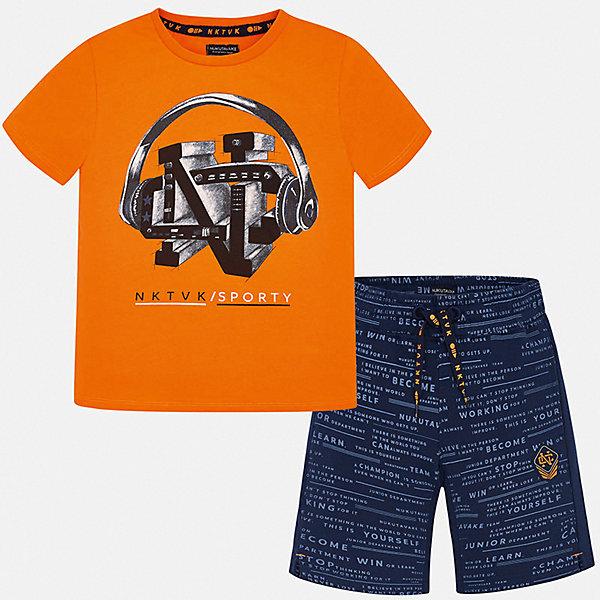 Комплект:Футболка ,шорты Mayoral для мальчикаКомплекты<br>Характеристики товара:<br><br>• цвет: оранжевый<br>• комплектация: шорты, футболка<br>• состав ткани: 100% хлопок<br>• сезон: лето<br>• особенности модели: спортивный стиль<br>• пояс: резинка, шнурок<br>• короткие рукава<br>• страна бренда: Испания<br>• неповторимый стиль Mayoral<br><br>В ярком детском комплекте от Mayoral - сразу две стильные вещи. Эти футболка и шорты для мальчика от Майорал помогут обеспечить ребенку комфорт в жаркое время года. В футболке и шортах для мальчика от испанской компании Майорал ребенок будет выглядеть модно, а чувствовать себя - удобно.<br><br>Комплект: шорты, футболка Mayoral (Майорал) для мальчика можно купить в нашем интернет-магазине.<br>Ширина мм: 230; Глубина мм: 40; Высота мм: 220; Вес г: 250; Цвет: синий; Возраст от месяцев: 96; Возраст до месяцев: 108; Пол: Мужской; Возраст: Детский; Размер: 128/134,170,164,158,152,140; SKU: 7556714;