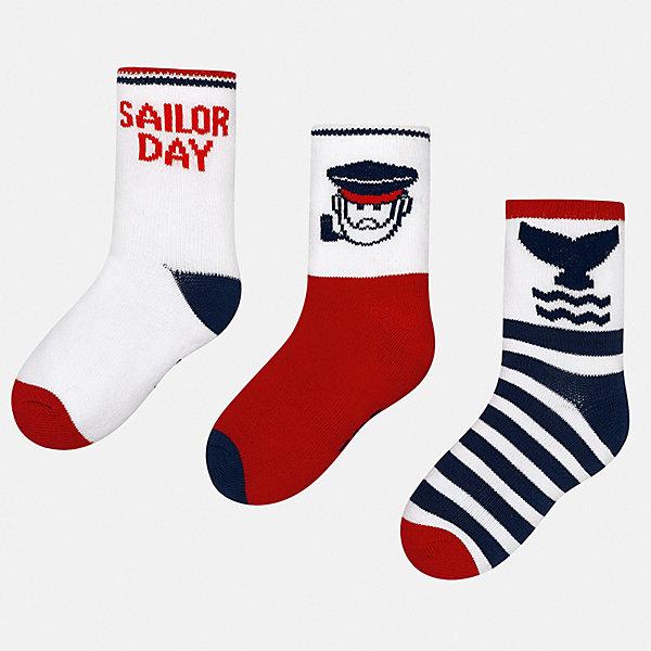 Купить Комплект:3 пары носок Mayoral для мальчика, Китай, бордовый, 19-22, 22-24, Мужской
