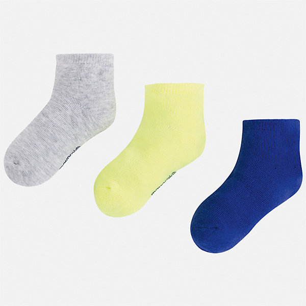 Комплект:3 пары носок Mayoral для мальчикаНоски<br>Характеристики товара:<br><br>• цвет: мульти<br>• комплектация: 3 пары<br>• состав ткани: 67% хлопок, 30% полиамид, 3% эластан<br>• сезон: круглый год<br>• страна бренда: Испания<br>• неповторимый стиль Mayoral<br><br>Удобные детские носки от популярного испанского бренда Mayoral состоят преимущественно из натурального дышащего хлопка. Носки для детей комфортно сидят благодаря мягкой резинке. Для производства детской одежды, в том числе и носков для детей, популярный бренд Mayoral используют только качественные материалы. Оригинальные и модные вещи от Майорал неизменно привлекают внимание и нравятся детям.<br><br>Комплект: 3 пары носков Mayoral (Майорал) для мальчика можно купить в нашем интернет-магазине.<br>Ширина мм: 87; Глубина мм: 10; Высота мм: 105; Вес г: 115; Цвет: синий; Возраст от месяцев: 132; Возраст до месяцев: 144; Пол: Мужской; Возраст: Детский; Размер: 33-35,24-26,27-29,30-32; SKU: 7557049;