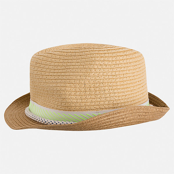 Шляпа Mayoral для мальчикаГоловные уборы<br>Характеристики товара:<br><br>• цвет: бежевый<br>• состав ткани: 100% бумага<br>• сезон: лето<br>• страна бренда: Испания<br>• неповторимый стиль Mayoral<br><br>Шляпа для мальчика от популярного бренда Mayoral отличается оригинальным декором в виде ленты. Детская шляпа имеет поля, обеспечивающие дополнительную защиту от солнца. В такой шляпе для детей от испанской компании Майорал ребенок будет защищен от перегревания головы на солнце. <br><br>Шляпу Mayoral (Майорал) для мальчика можно купить в нашем интернет-магазине.<br>Ширина мм: 89; Глубина мм: 117; Высота мм: 44; Вес г: 155; Цвет: зеленый; Возраст от месяцев: 72; Возраст до месяцев: 84; Пол: Унисекс; Возраст: Детский; Размер: 54,50,52; SKU: 7557193;